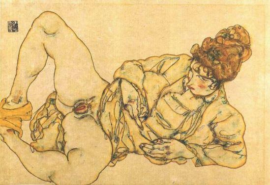 Egon Schiele. Reclined female nude 1916