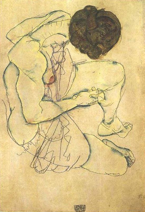 Egon Schiele. Seated female nude 1914