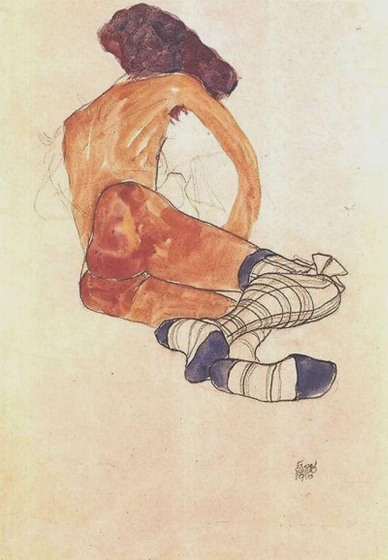 Egon Schiele. Seated female nude with blue garter 1910