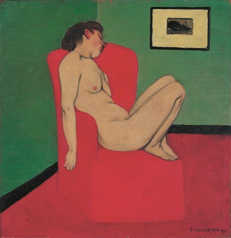 Félix Vallotton. Femme nue assiste dans un fauteuil rouge 1897