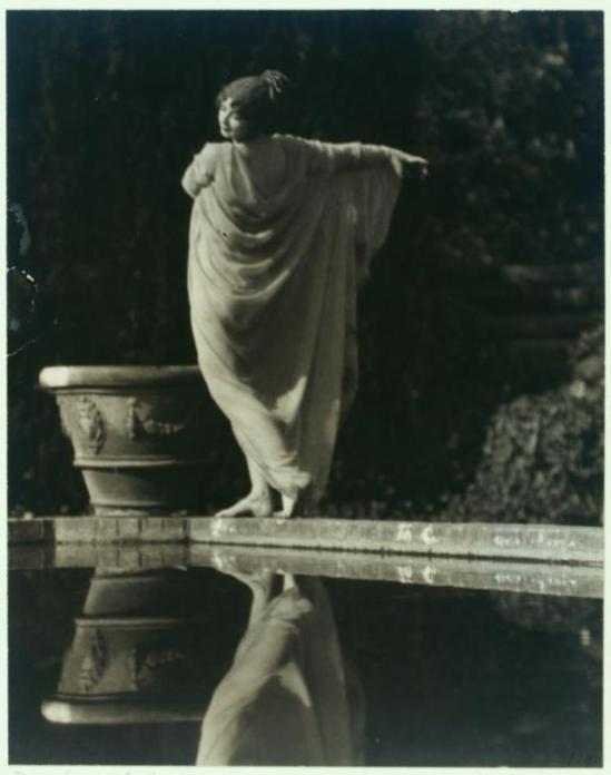 J. Walter  Collinge. Ruth St. Denis in Greek Veil costume. (ca. 1920) Via nypl
