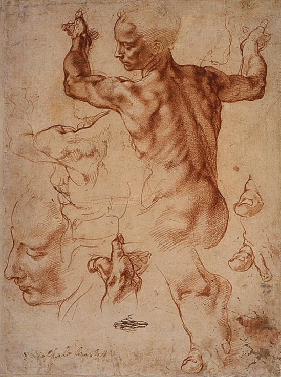 Michelangelo Buonarroti. Studies for the Libyan Sibyl 1510-1511