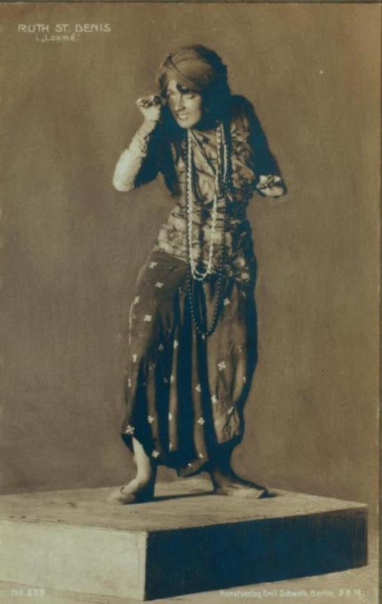 Postcard  made and sold in Germany, of Ruth St. Denis in The Cobras Via nypl