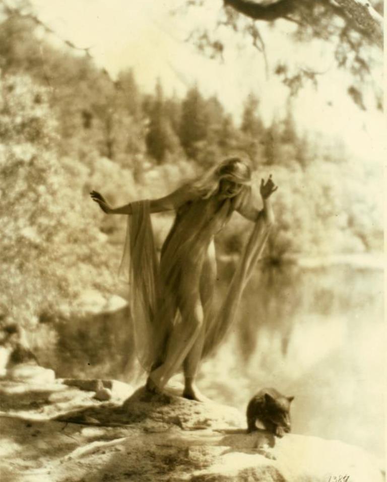 Ruth St. Denis at Yosemite Valley. (1919-1920) Via nypl