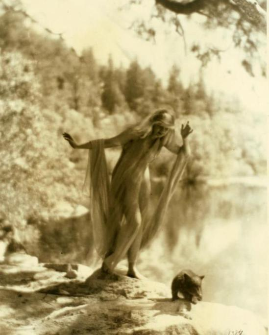 Ruth St. Denis at Yosemite Valley. (1919-1920) Via nypl