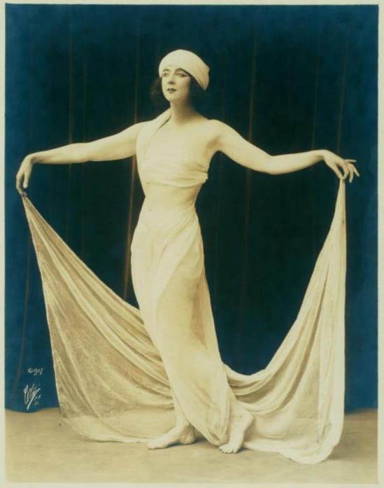 White Studio. Ruth St Denis in costume and pose for Physical Culture Magazine. (1917) Via nypl
