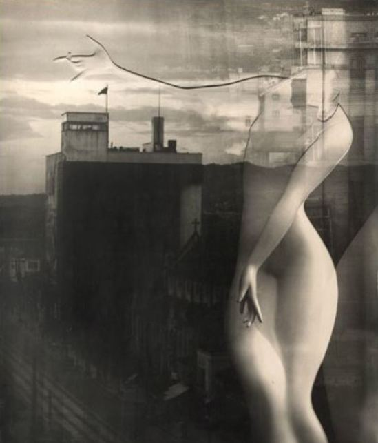 Via sakuraYuuishi Kobayashi. Marble torso superimposed on the Kyoto skyline 1949 -do