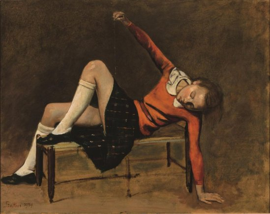 Balthus.Thérèse on a bench seat 1939