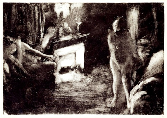 Edgar Degas. The fireside 1876–1877. Monotype