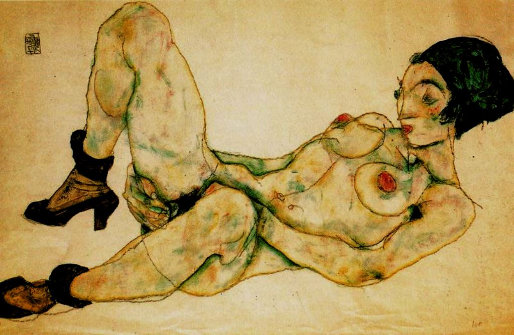Egon Schiele. Nu au turban vert 1914