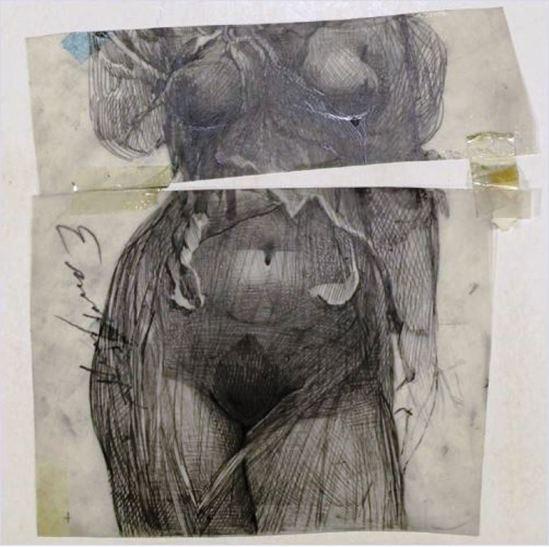 Ernst Fuchs. Weiblicher torso. Dessin au crayon