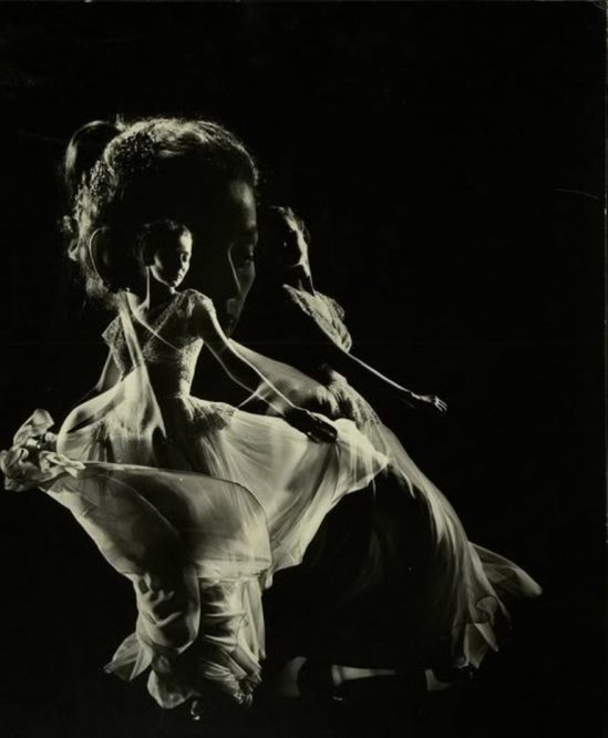 Gjon Mili, Dorian Leigh in swirling chiffon evening dress by Adrian, 1946