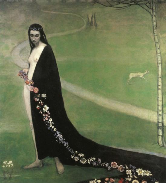 Romaines Brooks. Femme avec des fleurs 1912