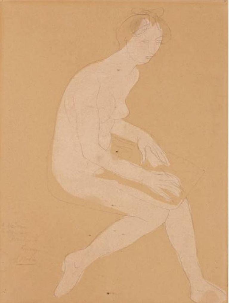 Auguste Rodin. Femme nue assise écrivant vers 1900