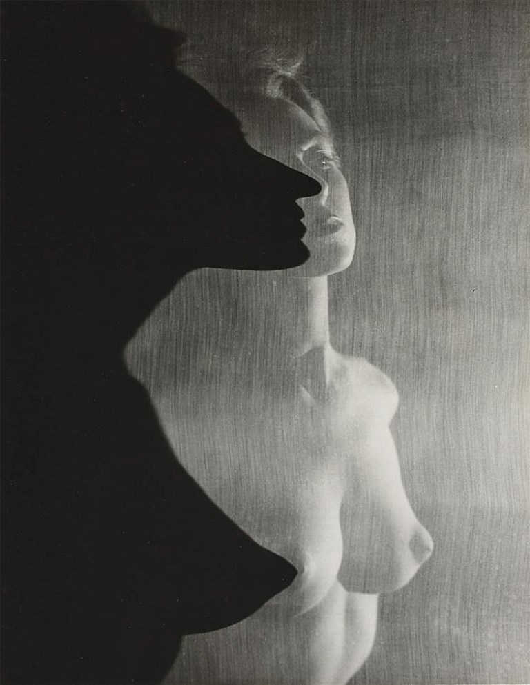 Erwin Blumenfeld. Shadow Profile Behind Veil  1943 Via invaluable