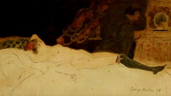 George Bottini. Femme nue allongé, scène de maison close 1898