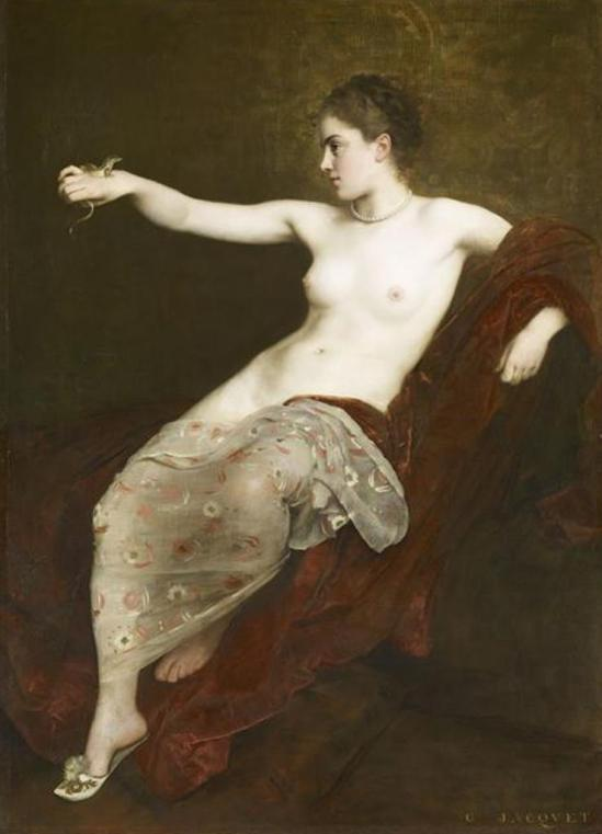 Jacquet Gustave-Jean. Jeune fille au lézard