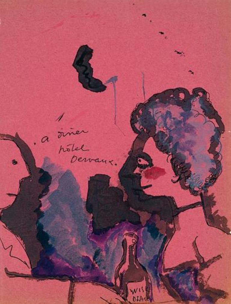 Jean Cocteau. A dîner hôtel Dervaux 1916. Dessin à l'encre et aquarelle Via drouot