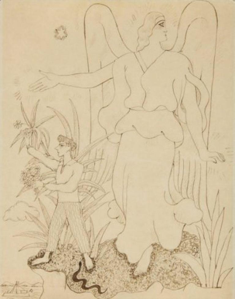 Jean Cocteau. Ange protégeant Jean Cocteau 1930. Encre Via drouot