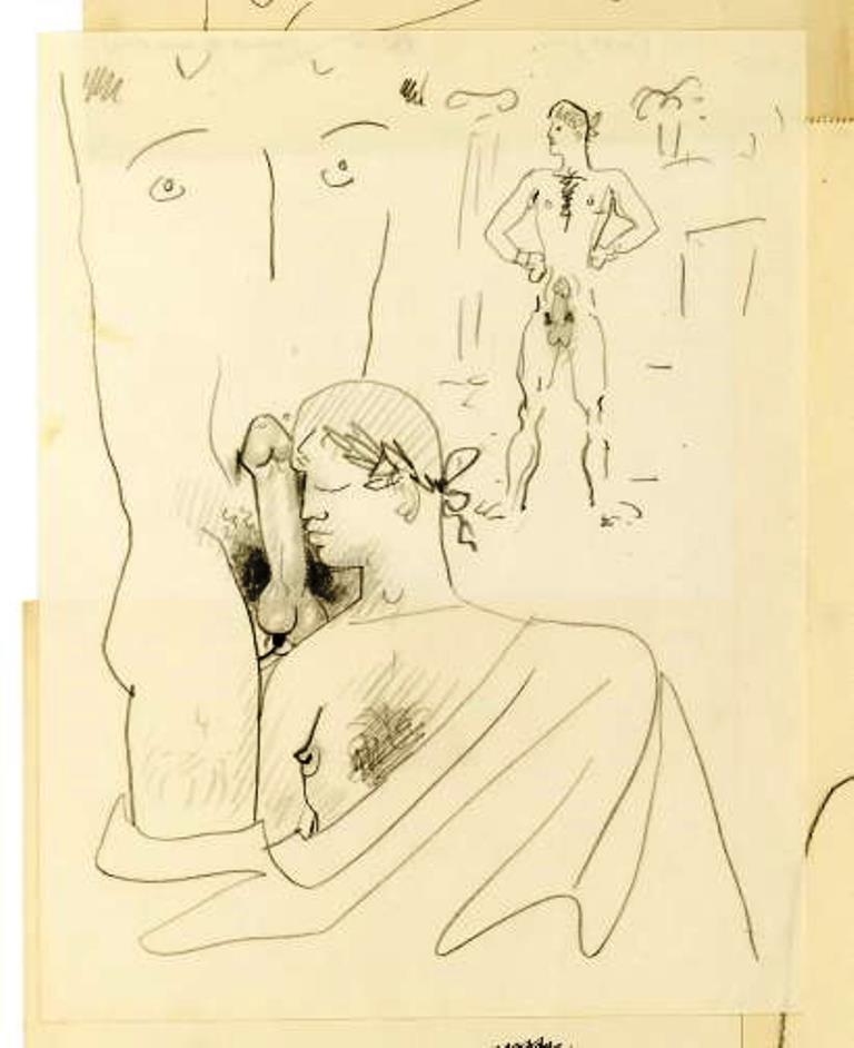 Jean Cocteau. Dessin érotique avec trois personnages vers 1950 Via drouot