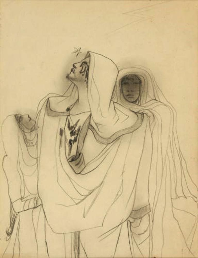 Jean Cocteau. Oedipe. Dessin au crayon noir Via drouot