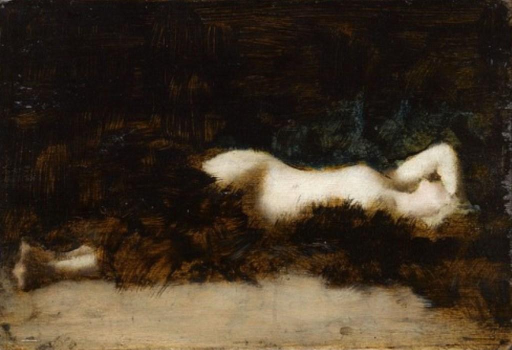 Jean-Jacques Henner. Femme nue couchée dans une fourrure vers 1892