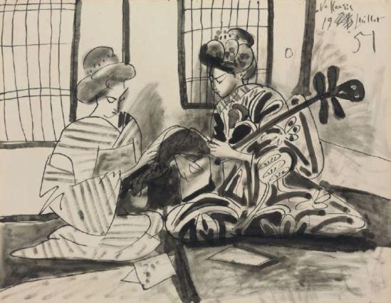 Pablo Picasso. Deux femmes japonaises dans un intérieur 1951