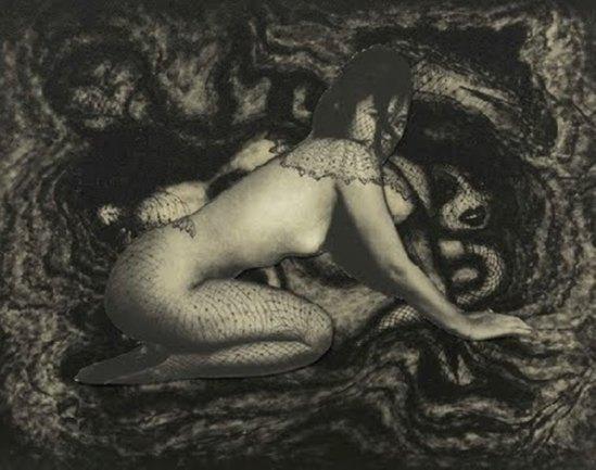 Pierre Molinier. Collage original définitif d'Emanuelle, planche 49 du Chaman et ses créatures Via aliceaupaysdesarts