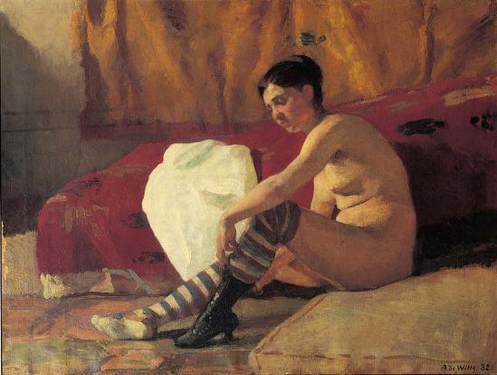 Adrien de Witte. Le modèle (femme aux bas rayés) 1882