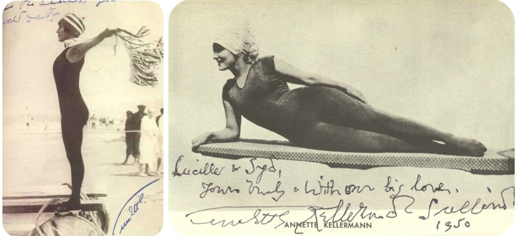 Annette Kellerman in her infamous one-piece all over black diving suit  Via theatreoffashion