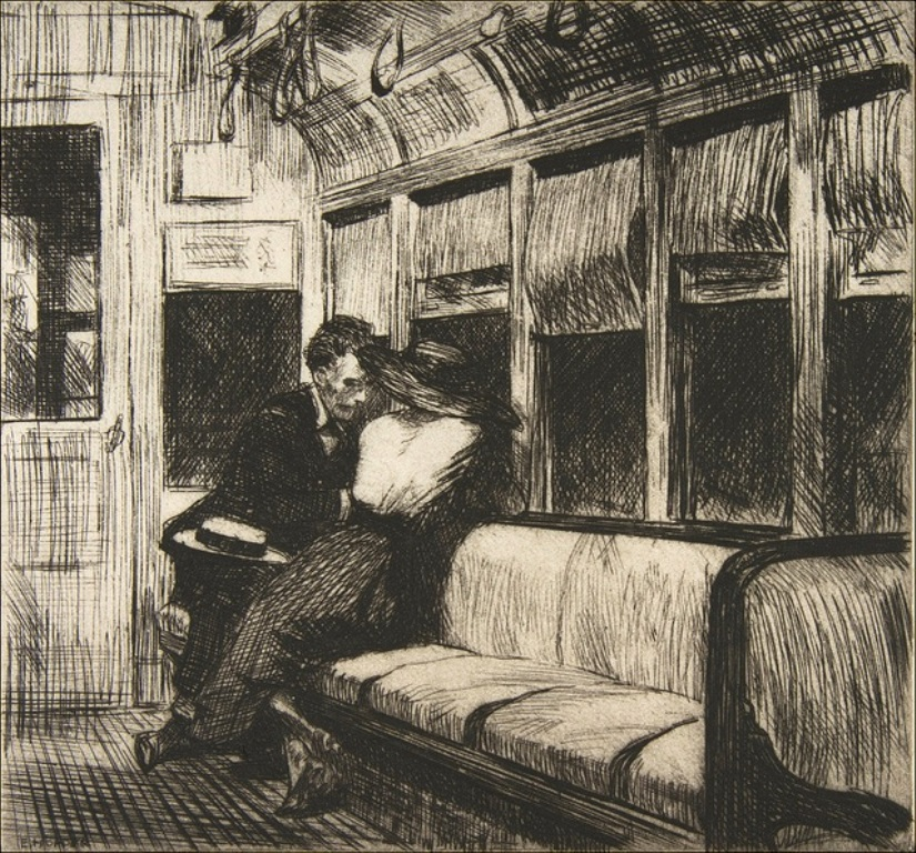 Edward Hopper. Night on el train 1918. Encre