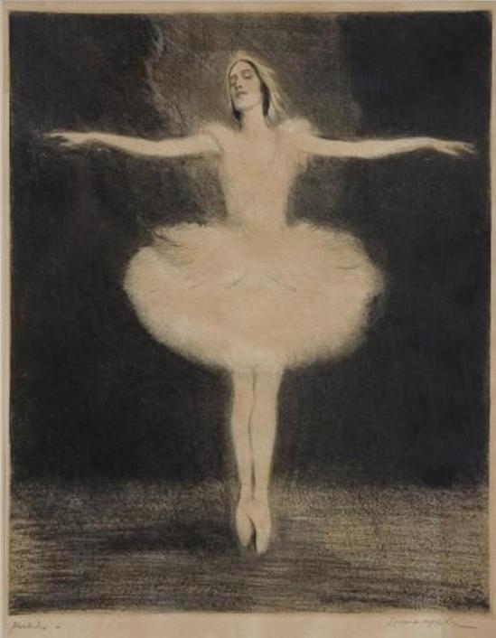 Ernst Oppler. Anna Pavlova. The Dying Swan 1912. Drypoint etching Via wfit.org
