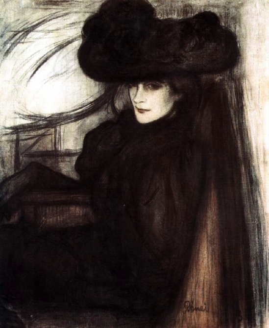 Jozsef Rippl-Ronai. Lady with black veil 1896