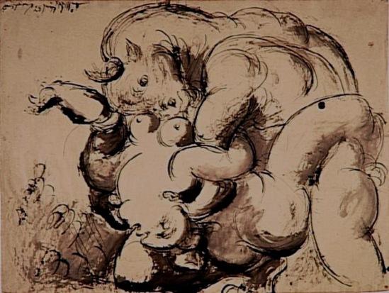 Pablo Picasso. Minotaure violant une femme 1933. Encre de chine et crayons de couleur