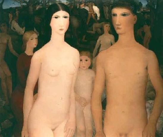 Paul Delvaux. Couple avec enfant dans la forêt 1928-1929