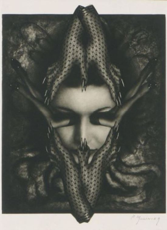 Pierre Molinier. Photomontage pour Le chaman et ses créatures 1970 Via drouot