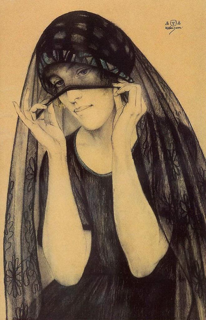 Walter Louis Sauer. Femme avec un voile noir 1920