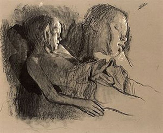 Kathe Kollwitz. Sleeping child and chid's head 1903