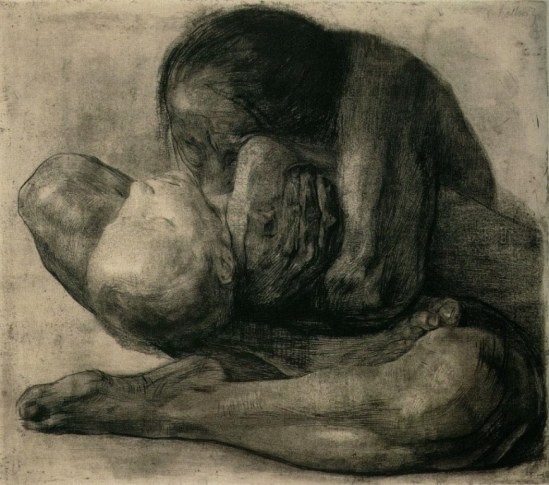 Käthe Kollwitz. Mother grieving for her chid