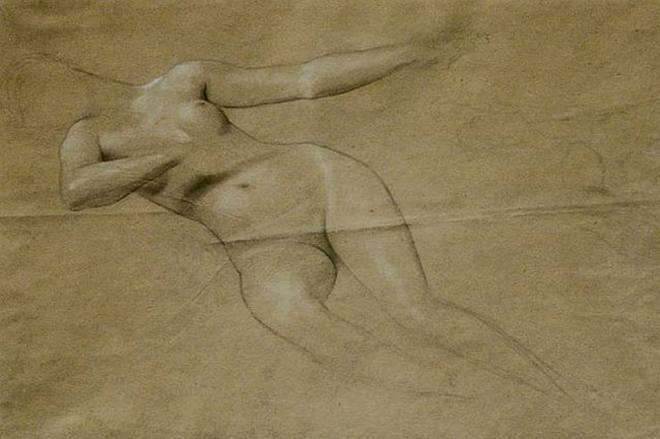 Gustav Klimt. Floating female nude 1885