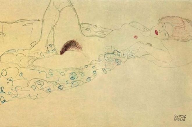 Gustav Klimt. Reclining nude study