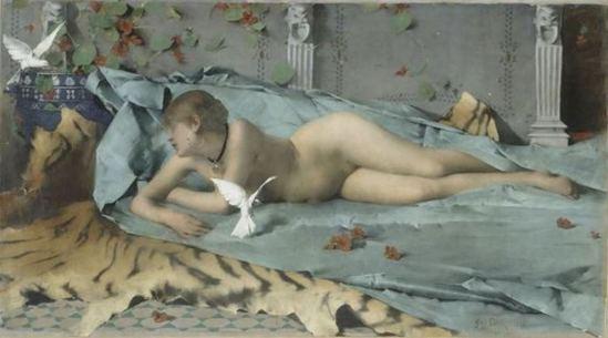 Charles Edmond Daux. Femme jouant avec des colombes. Huile sur toile