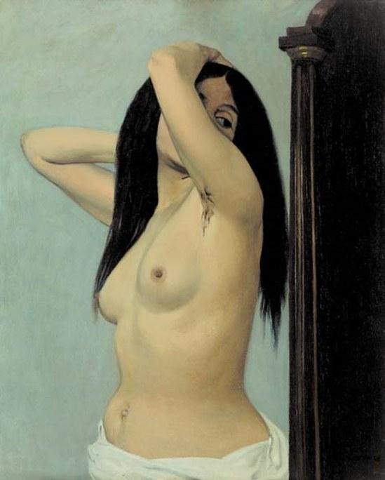 Félix Valotton. Femme nue regardant dans une psyché 1906