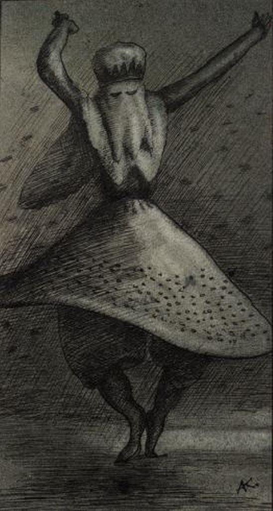 Alfred Kubin. Dancing dervish 1900. Ink and spary on paper