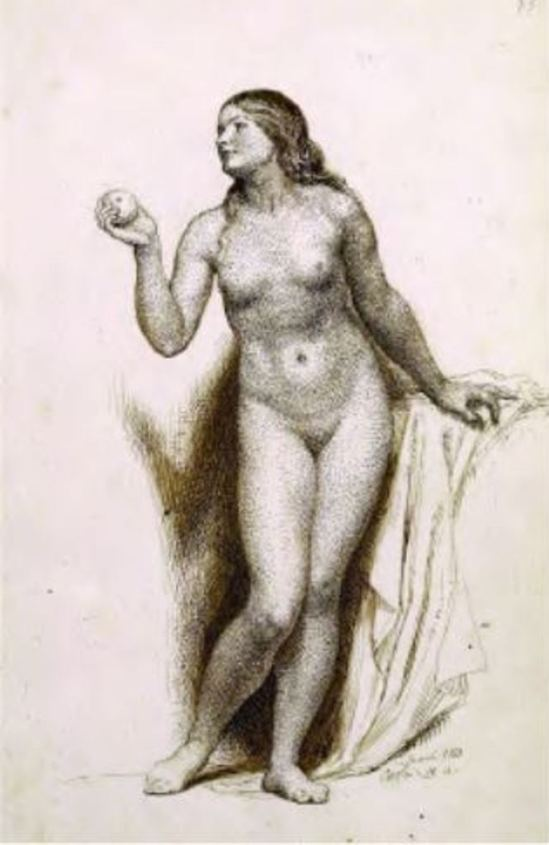 Charles West Cope. Study of a woman holding an apple 1853
