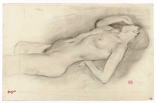 Edgar Degas. Femme nue couchée, la tête à droite, étude pour Scène de guerre au Moyen Âge 1863-1865