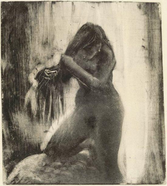 Edgar Degas. Femme nue se coiffant 1879-1883 Monotype à l'encre noire sur papier