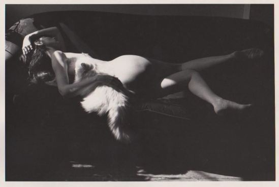Edouard Boubat. Nude f Wendy with his cat Mouche Brooklyn, 1983. Via ebay