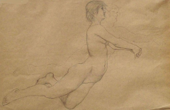 Georg von Hoesslin (1851-1923). Two nude women kneeling or aloft