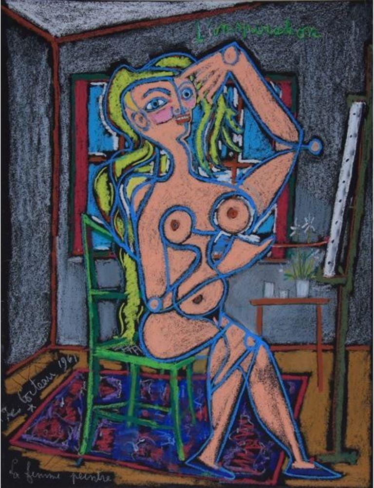 Jean Cocteau. L'inspiration, la femme peintre 1961. Via muséecocteau